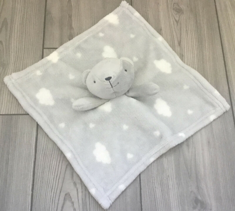 HTF Starting Out Gray White Cloud Bear Baby Blanket Rattle Security Lovey EUC