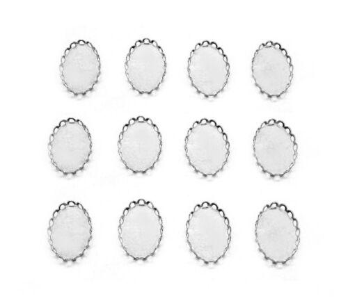 12 Bright Silvertone Lace Filigree 18mm x 13mm CAMEO PENDANT / Earrings Settings
