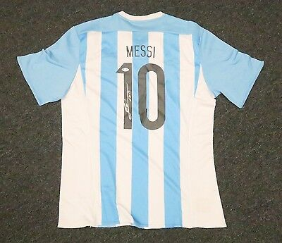 13120 Lionel Messi #10 Signed Argentina Soccer Jersey AUTO Sz XL PSA/DNA LOA