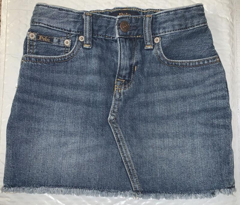 Polo Ralph Lauren Girls Denim Jeans Skirt Adjustable Waist Size 6x Barely used
