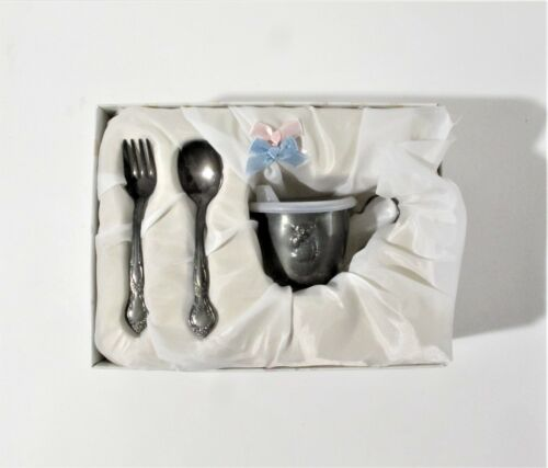 Vintage Silver-Plated Baby Cup (w/Sipper Lid), Fork, and Spoon Set