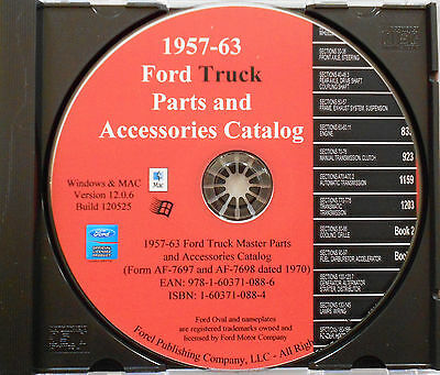 1957 - 1963 Ford Truck Complete Master Parts Catalog Manual Cd-rom Wpart Numbers