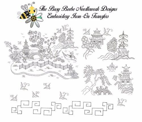 Blue Willow / Redwork Embroidery Transfer Pattern Oriental Set #3