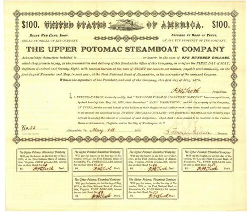 Upper Potomac Steamboat Company. $100 Bond Certificate. 1875