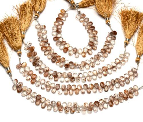 """Natural Gem Copper Rutile Quartz Faceted Pear Shape Briolettes 7x5MM Size 7"""""""
