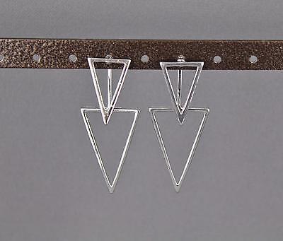 silver dangle ear jacket front back earrings triangle geometric double look stud - Front Back Earrings