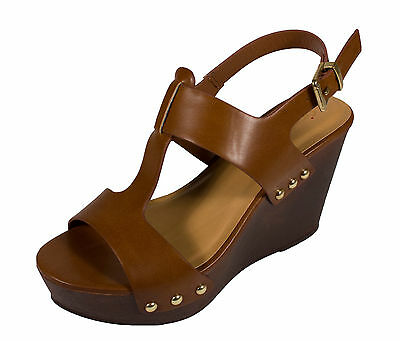 Support City Classified Womens Slingback Platform Wedge Sandal  Tan Leatherette