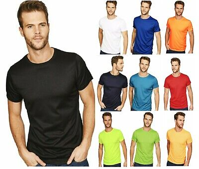 Mens Plain T-shirt Mens POLYESTER Crew Neck T-Shirts Tee Top Muscle TOP Shirt