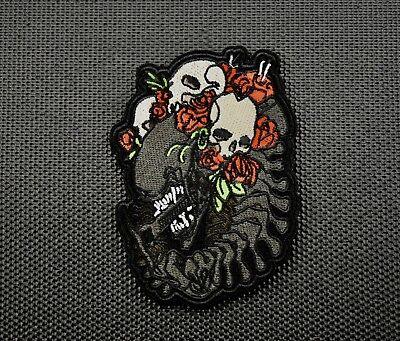 Premium Embroidered Alien Skulls & Roses Morale Patch