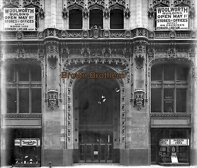 1910s NYC Woolworth Building Front Entrance 8x10 Glass Camera Negative #8 - BB