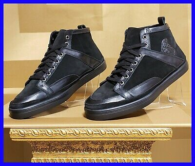 NEW VERSACE COLLECTION SUEDE/LEATHER HIGH-TOP BLACK SNEAKERS 42- 9