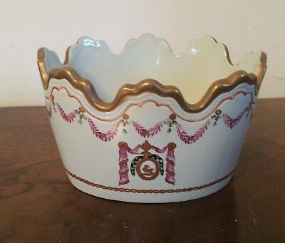 Vintage Porcelain Cachepot Monteith Vase Planter Chinese Export Armorial Style 2
