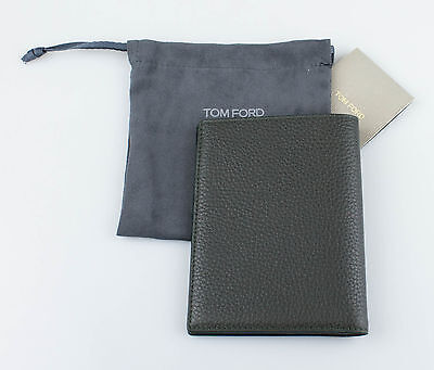NWT TOM FORD Brunswick Green 100% Pebbled Leather Bifold Card Holder Wallet $450