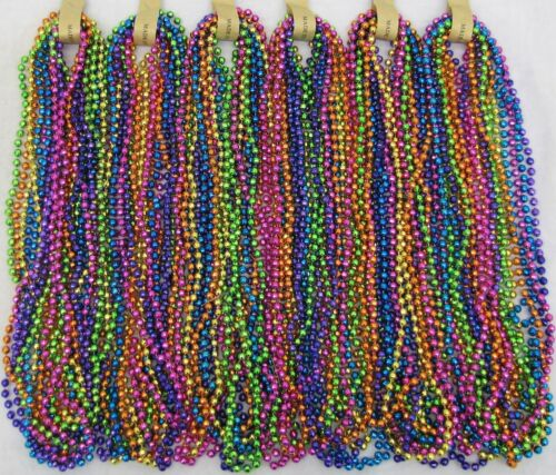 "Mardi Gras Beads Bright Neon Disco 6 Dozen 33"" Parade School Party 72 Necklaces"