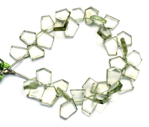 """Natural Gem Green Amethyst Prasiolite Faceted Slice Shape Beads 8"""" 101Cts."""