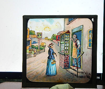 Victorian Glass magic lantern slide Street scene   colour image ci8