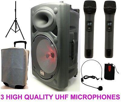 "Mak 1100w 15"" UHF Portable PA Active Bluetooth Speaker Karaoke  3WirelessMic USB"