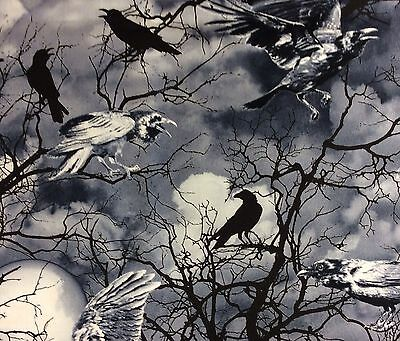 Spooky Woods Halloween (TT73 Crows Halloween Night Woods Creepy Scary Spooky Tree Quilting Cotton)