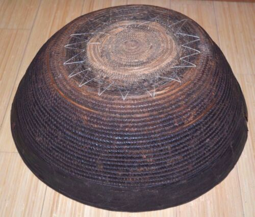 Antique African Nupe Tribal People Woven Grass Basket Leather Rim Nigeria Africa