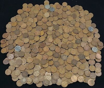 Indian Head Cents & Wheat Cents mixed lot of 100 UNSEARCHED pennies 2 rolls