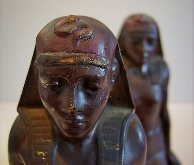 Pair Vintage American Art Deco Bookends Pharaoh Egyptian Nude Women