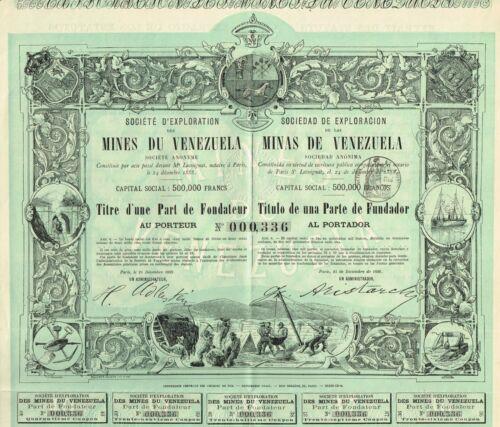 VENEZUELA MINES OF VENEZUELA stock certificate/bond 1888 BEAUTY