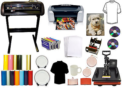 5in1 Heat Press 24 Metal Vinyl Cutter Plotterprinterrefil Ink Putshirt Bundle