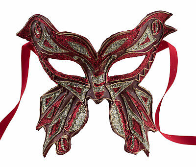 Mask from Venice Farfella Red Golden Mixed Butterfly in Paper Mache 1782