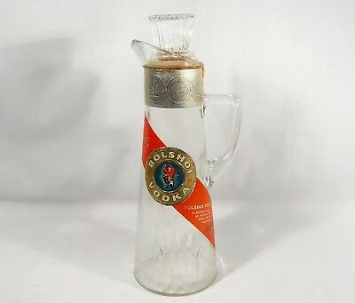 Vintage 1957  Liquor Bottle BOLSHOI VODKA Glass Handled  Decanter 11 1/2