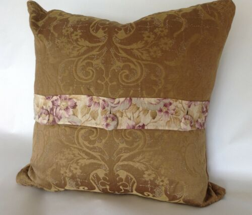 Vintage  French fabric pillow Floral and Gold Damask
