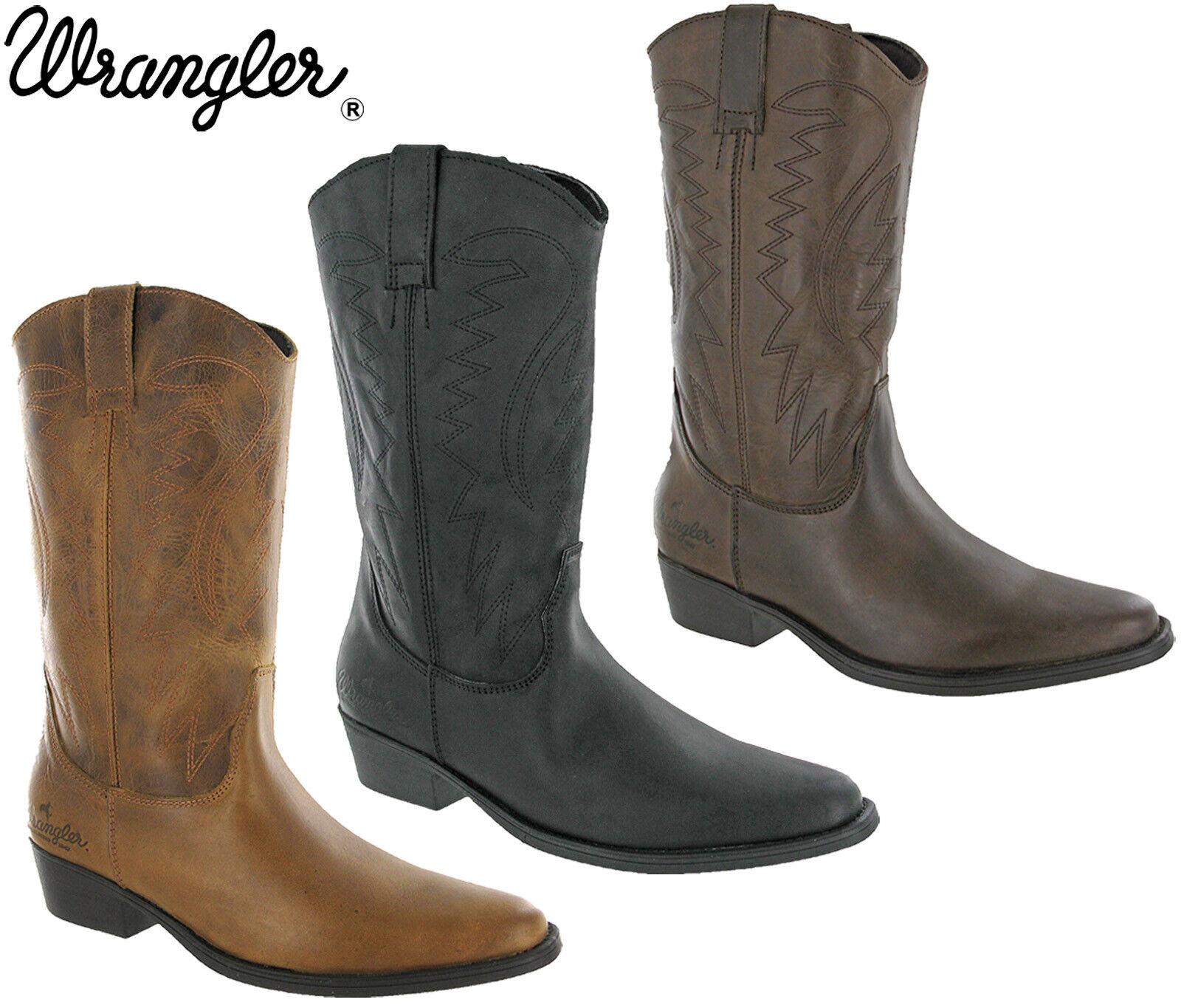 Dettagli su Wrangler Stivali da Cowboy Western Tex Hi Polpaccio pelle Tacco Infilare UK 7 12
