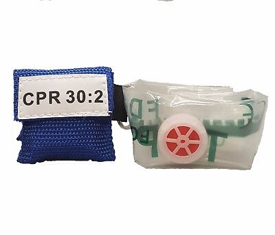 2 Blue Cpr Face Shield Mask In Pocket Keychain Imprinted Cpr 302