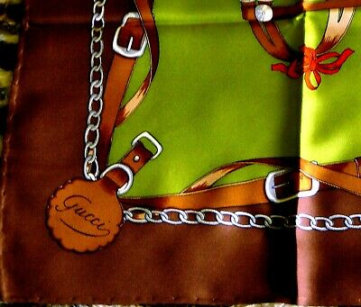 "GUCCI Equestrian Silk Scarf ""GG"" Horse Accessories Brown Border Vintage EUC!"