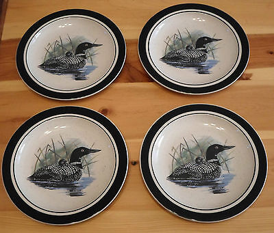 "4 Folkcraft Stoneware By Scotty Z 8 1/2"" Plate Dessert~Salad Water Fowl Plates"