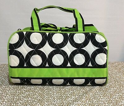 Belvah Quilted Lime Green Black/White Polka Dot 3 pc Cosmetic/Travel Bag VGUC ()