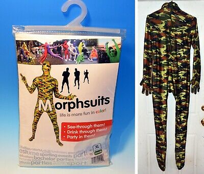 Commando Green Camouflage Morphsuit Adult Size XL Halloween Fits 5'10