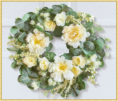 Eucalyptus White Rose Door Wreath Wall Hanging Spring Summer Greenery Floral Art
