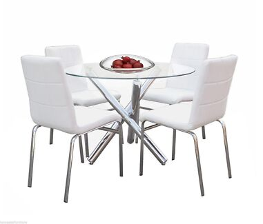 Trion 5pc Dining Table SetRound Glass PU Upholstered Chair