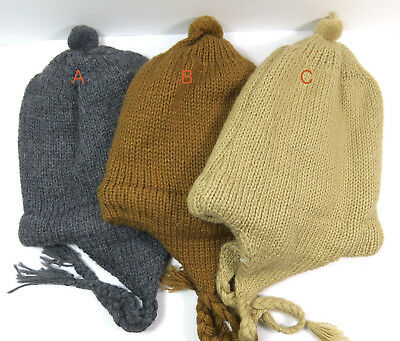 Eine Stricken Mütze (eine Kindermütze Alpaka Wolle gefüttert warm weich Wintermütze Strickmütze Neu!)