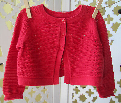 Baby GAP Infant Girl Cardigan Sweater, 12-18 Months, Red, Cotton, Christmas