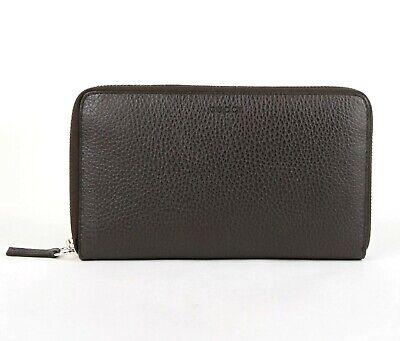 Gucci Dark Brown Leather Zip Around Wallet with Logo Imprint 391465 2044