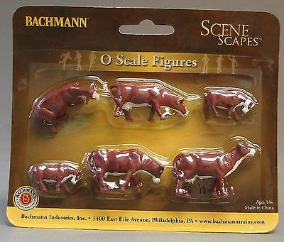 BACHMANN O GAUGE COWS BROWN & WHITE figures farm animals train people 33152 NEW for sale  Indiana