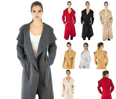 Wasserfall Mantel Lang Jacke Damen Wollmantel Übergangs Blogger Trench Coat  Lange Trenchcoat
