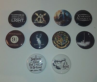 "Lot Of 10 Harry Potter Quotes Hogwarts 2"" Buttons Pins NEW!"