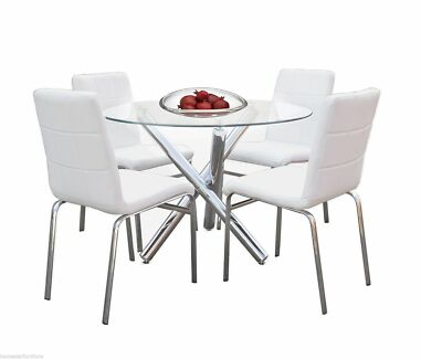 Trion 5pc Dining Table Set:Round Glass Table+PU Upholstered Chair