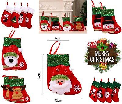 Christmas Santa Claus Stocking Socks / Boot Tree Decor Gift Candy Hanging Bag UK ()