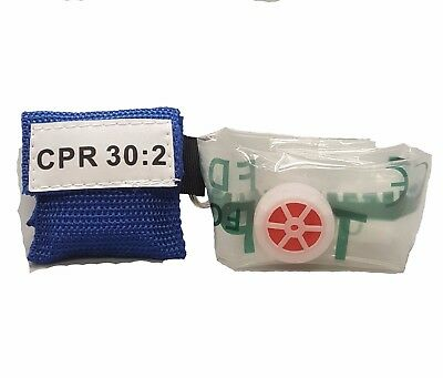 3 Blue Cpr Face Shield Mask In Pocket Keychain Imprinted Cpr 302