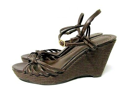 ANN TAYLOR Womens Sz 6.5 M Brown Leather Strappy Ankle Strap Wedge Sandal Shoe