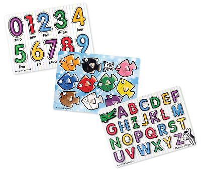 Melissa  Doug Classic Wooden Peg Puzzles (Set of 3) - Numbers, Alphabet, and