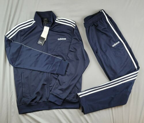 ADIDAS TRICOT TRACK SUIT JOGGING SET MATCHING SEPARATES NEW MEN BLUE NAVY